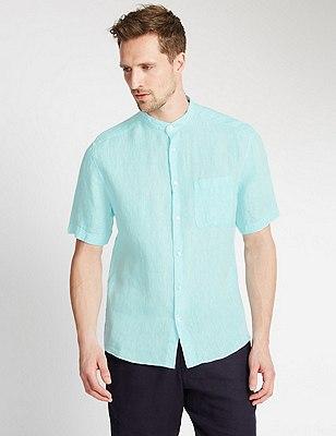 Pure Linen Tailored Fit Granddad Collar Shirt, TURQUOISE MIX, catlanding