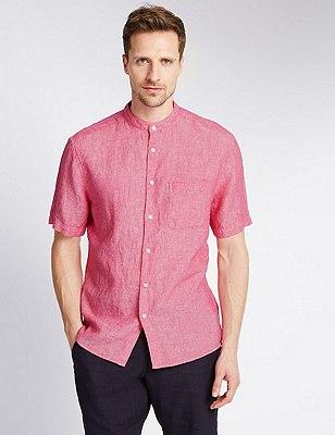Pure Linen Tailored Fit Granddad Collar Shirt, DARK RASPBERRY, catlanding