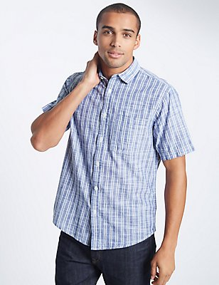 Pure Cotton Striped Shirt with Pocket, CHAMBRAY MIX, catlanding