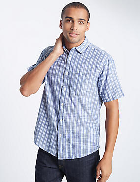 Pure Cotton Striped Shirt, CHAMBRAY MIX, catlanding