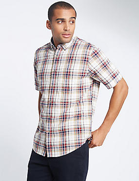 Pure Cotton Checked Shirt with Pocket, WHITE MIX, catlanding