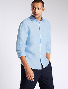Pure Linen Easy Care Shirt with Pocket, BLUE, catlanding