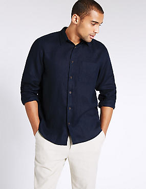 Pure Linen Easy Care Shirt with Pocket, NAVY, catlanding