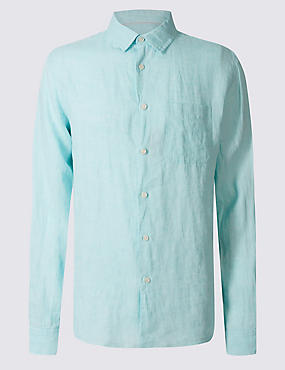 Pure Linen Easy Care Shirt with Pocket, MINT, catlanding