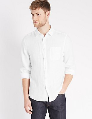Pure Linen Easy Care Shirt with Pocket, WHITE, catlanding
