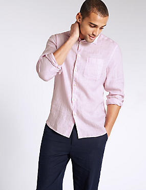 Pure Linen Easy Care Shirt with Pocket, PINK, catlanding