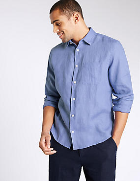 Camisa de cuidado fácil con bolsillo 100% lino, VIOLETA, catlanding