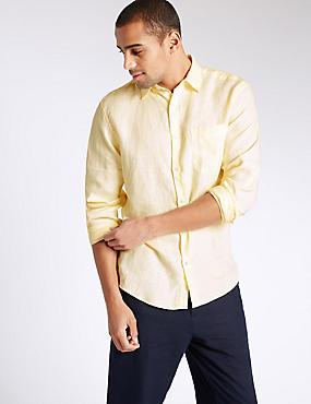 Camisa de cuidado fácil con bolsillo 100% lino, AMARILLO, catlanding