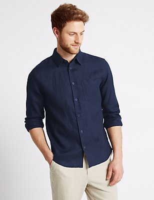 Pure Linen Easy Care Slim Fit Shirt, NAVY, catlanding
