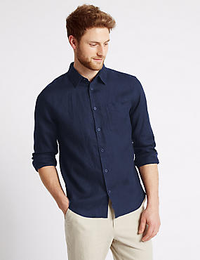 Pure Linen Easy Care Slim Fit Shirt, NAVY, catlanding