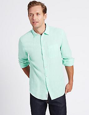 Pure Linen Easy Care Slim Fit Shirt, MINT, catlanding