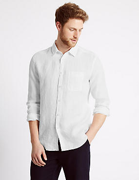 Pure Linen Easy Care Slim Fit Shirt, WHITE, catlanding