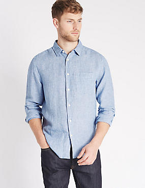 Easy Care Pure Linen Shirt with Pocket, BLUE, catlanding