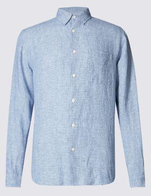 Рубашка из льна Easy Care с длинным рукавом M&S Collection T252380M