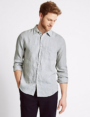 Easy Care Pure Linen Slim Fit Shirt, NATURAL, catlanding