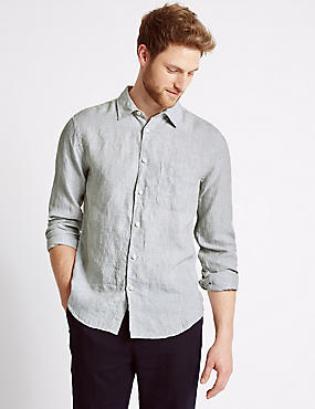 Pure Linen Easy Care Slim Fit Shirt, NATURAL, catlanding
