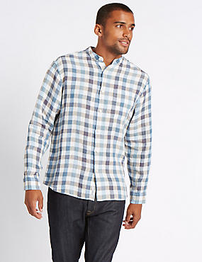 Easy Care Pure Linen Shirt with Pocket, BLUE MIX, catlanding