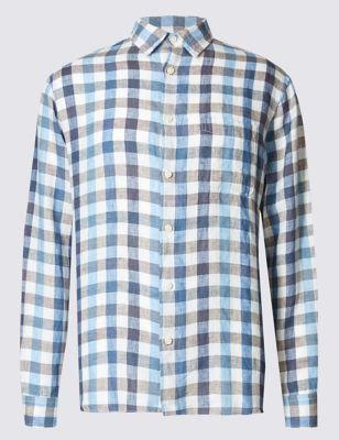 Рубашка из льна в клетку с длинным рукавом M&S Collection T252381M