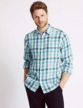 Pure Linen Easy Care Slim Fit Shirt , TURQUOISE, catlanding