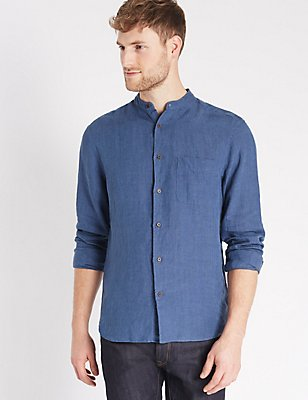 Easy Care Pure Linen Shirt with Pocket, DARK BLUE, catlanding