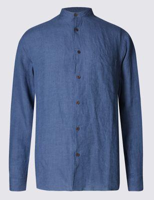 Рубашка из льна Easy to Iron с карманом M&S Collection T252382M
