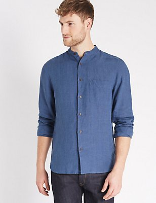 Pure Linen Easy Care Slim Fit Shirt , DARK BLUE, catlanding