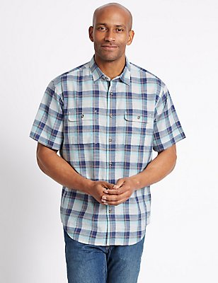 Pure Cotton Checked Shirt with Pockets, NAVY MIX, catlanding