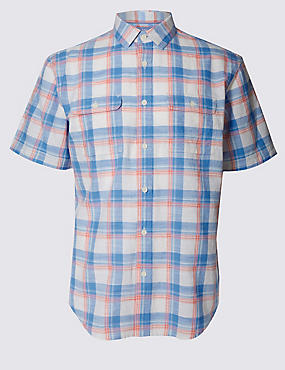 Pure Cotton Checked Shirt with Pockets, POPPY MIX, catlanding