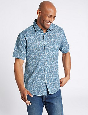 Pure Cotton Printed Shirt with Pocket, , catlanding