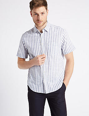Pure Cotton Striped Shirt with Pocket, WHITE MIX, catlanding