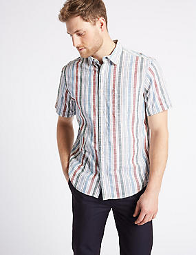 Pure Cotton Striped Shirt with Pocket, MULTI, catlanding