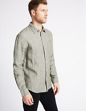 Easy Care Pure Linen Shirt with Pocket, KHAKI, catlanding