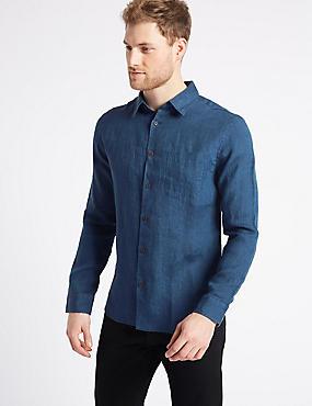 Easy Care Pure Linen Shirt with Pocket, DARK BLUE DENIM, catlanding
