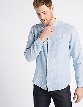 Easy Care Pure Linen Shirt with Pocket, CHAMBRAY, catlanding