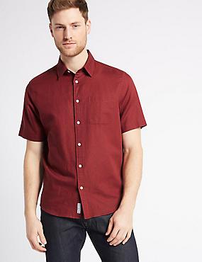 Linen Rich Shirt with Pocket, SUNSET, catlanding