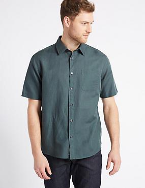 Linen Rich Shirt with Pocket, FOREST GREEN, catlanding