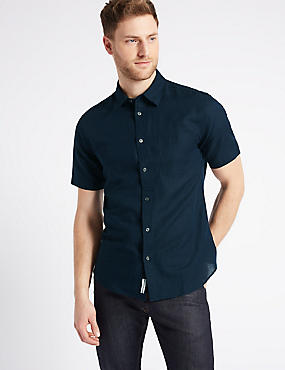 Easy Care Linen Rich Shirt with Pocket, NAVY, catlanding