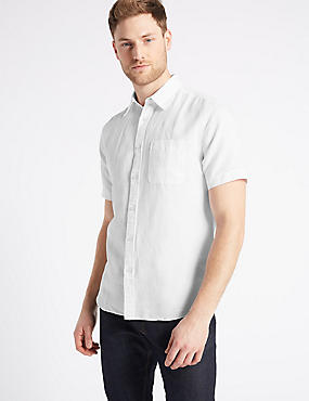 Easy Care Linen Rich Shirt with Pocket, WHITE, catlanding