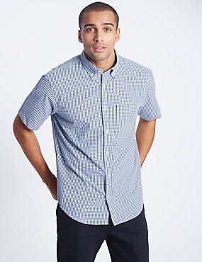 Pure Cotton Checked Shirt with Pocket, BLUE, catlanding