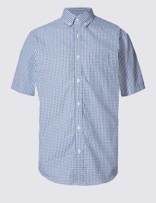 Рубашка в мелкую клетку на пуговицах