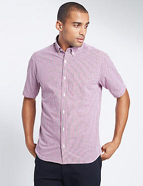 Pure Cotton Checked Shirt with Pocket, BURGUNDY, catlanding