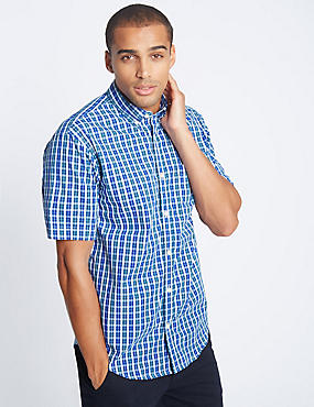Pure Cotton Checked Shirt with Pocket, DARK PETROL, catlanding