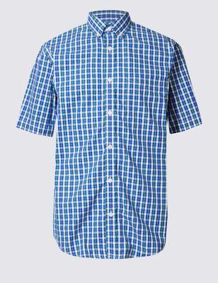 Рубашка в мелкую клеточку с коротким рукавом