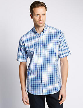 2in Longer Pure Cotton Gingham Checked Shirt