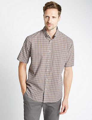 Pure Cotton Short Sleeve Checked Shirt, TOFFEE, catlanding