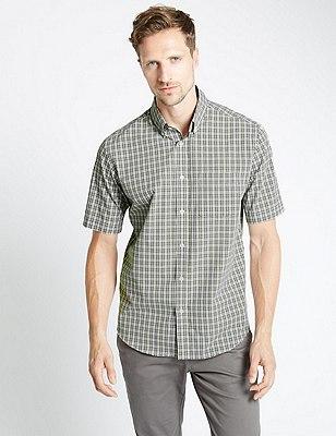 Pure Cotton Short Sleeve Checked Shirt, FERN GREEN, catlanding