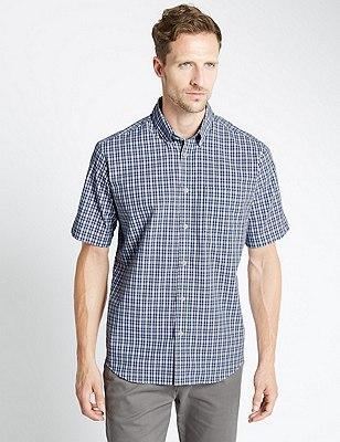 Pure Cotton Short Sleeve Checked Shirt, WHITE MIX, catlanding