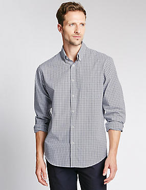 Big & Tall Pure Cotton Long Sleeve Checked Shirt, STEEL, catlanding