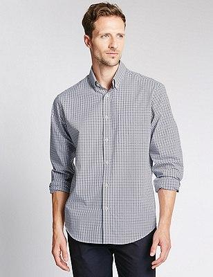 Big & Tall Pure Cotton Long Sleeve Checked Shirt, STEEL, catlanding