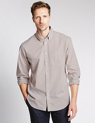 Big & Tall Pure Cotton Long Sleeve Checked Shirt, TOFFEE, catlanding
